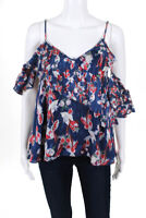 Tanya Taylor Womens Blouse Size 2 Blue Red White Floral Stripe $350 10614089