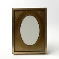 VTG CARR Ornate Oval Solid Brass Mat Gold Gilt Wood Picture Photo Frame 3.5x4''