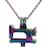 """Sewing Machine Charms Rainbow Colorful Beads Cage Locket Necklace 18""""---C672"""