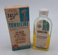 1961 TONSILINE Glass Medicine Bottle w/ Original Box Vintage Medicine