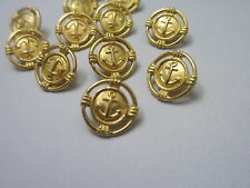 """5/8""""   GOLD Tone  Metal ANCHOR  Shank Back  Buttons (12)"""