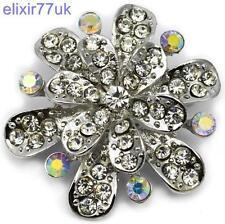 NUOVA GRANDE ARGENTO FIORE SPILLA chiaro Diamante Strass in Cristallo Spilla Nuziale