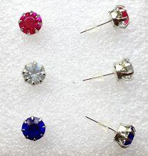 1 Paar Strass Ohrstecker Ohrringe Freie Farbwahl Gefasster Strass Stein 0,8 cm