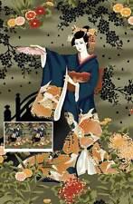 Geisha Hana Bashi Gris Panel de algodón acolchado Tela - 60 Cm X 110 Cm