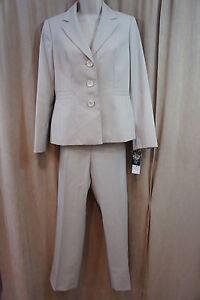 """Evan Picone Pant Suit Sz 4 Almond Beige """"Newport"""" Pin Striped Business Suit"""