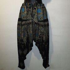 Pants Fits M L XL 1X 2X 3X Plus Harem Black with Metallic Gold Paisley NWT GP8