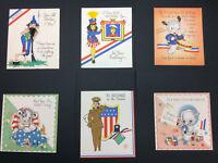 6 Vintage Patriotic Greeting Cards Birthday Service