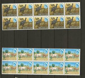RHODESIA 1966-8 SG397-406 Values to 10s in Fine MNH BLOCKS of 10