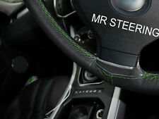 FOR RENAULT MEGANE II 02-09 BLACK LEATHER STEERING WHEEL COVER GREEN DOUBLE STCH