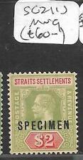 MALAYA STRAITS SETTLEMENTS (P0311B) KGV $2.00  SG210 S SPECIMEN  MNG