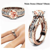 Classic Round Cut Rose Engagement Claw Ring White Topaz Filled Women SIze 7-11