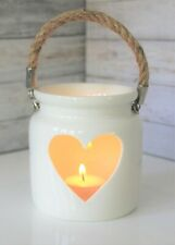 LARGE WHITE CERAMIC TEALIGHT HOLDER LANTERN WITH ROPE HANDLE AND HEART DETAIL
