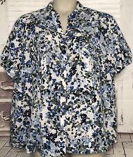 Laura Scott Womens White Blue Short Sleeve Button Top Blouse Plus Sz. 24 26 Used
