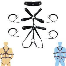 Herren Riemen Body Körper Harness Erwachsene Lederfesseln Set Bondageset Schwarz