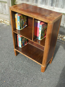Original 1930s Art Deco period walnut bookcase, very distinctive compact example