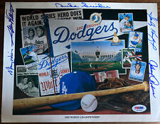 Signed Dodgers Union 76 Sandy Koufax Snider Podres Wills PSA DNA AUTHENTIC