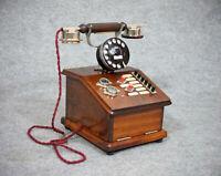 """Um 1920 - Telefonvermittlung / Hauptstellentelefon """"Marty"""" - Stil in Nußbaumholz"""