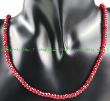 Fine 2x4mm Brazil Red Ruby Faceted Roundel Gems Beads Necklace 18''