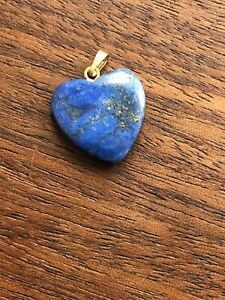Vintage Antique Genuine LAPIS Gemstone Heart Pendant Bead 18mm