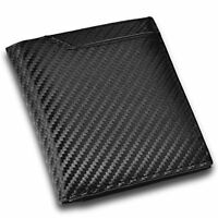 CRESTIA two-fold wallet men's Carbon leather (black) F/S w/Tracking# Japan New
