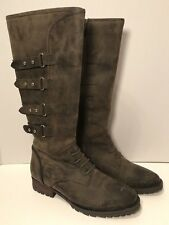 Jeffrey Campbell Ibiza Earhart Boots Distressed Knee Height Leather Military 6