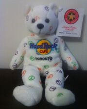 Hard Rock Cafe Beanie Bear Plush Toronto 2003 HRC Peace Bear Stuffed Animal