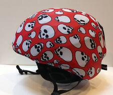 Ski & Sport Helmet cover by Shellskin. Red w/White Skulls print Spandex. 1 Size