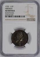 1723 1/2p HIBERNIA HALFPENNY U.S. COLONIAL COIN *NGC AU DETAILS* LOT#Q709