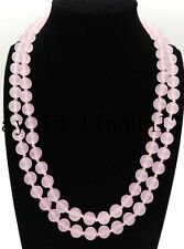 AAA+ 8/10m/12m Pink Jade Gemstone Round Beads Jewellery Necklace 36 inch