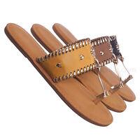 Barton15 Vintage Flat Toe Ring Slide On Sandal - Women Flat Tstrap Braided Shoe