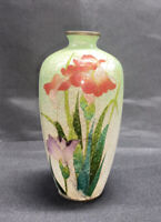 "Vintage Small Japanese Cloisonné Green White Vase Flowers 4 3/8"" High"