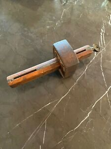 Antique Scribe Marking Mortise Gauge Gage Woodworking Tool Brass Wood