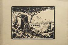 """Gravure sur bois originale de JACQUEMOT, """"Paysage d'Italie"""""""