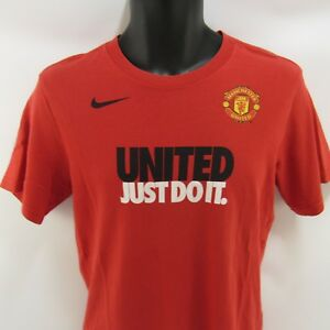 Nike Manchester United Just Do It T-Shirt Youth L Orange Kids Large Soccer Tee