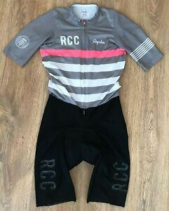 Rapha RCC Pro Team Aerosuit grey pink cycling skinsuit skin speed suit size M
