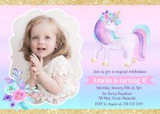 Unicorn Invitation, Unicorn Birthday, Invitation, Floral, Gold, Pink