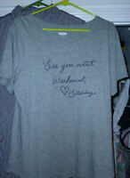 women's shirt L gray Old Navy NWT See you next weekend Saturday 100% cotton