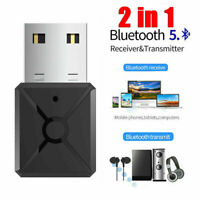 USB Bluetooth 5.0 Transmitter Receiver Stereo Audio Adapter AUX 3.5mm TV/CAR/PC_