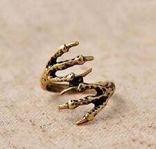 Diseño Vintage Bronce Oro Mujer Hombre Pájaro Eagle Claw talon Ring Gótico Punk