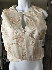 "My Clothes Cream Beaded top s6.18.5"" length,sleeveless Dressy & Beautiful"
