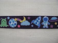 "space planets rocket grosgrain ribbon 7/8"" per 1 m hair scrapbook cards"