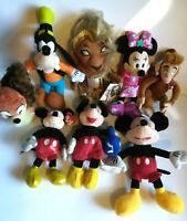 Disney Lot of 8 Bean Bag Plush Lady Abu Simba Goofy Minnie Mouse 3 Mickey Types