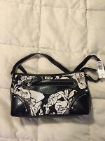 NEW WOMENS KIM ROGERS BLACK WHITE FLORAL SMALL HANDBAG PURSE BAG TOTE