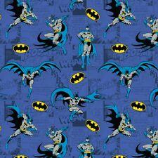 BATMAN COMICS BLUE COTTON FABRIC 100% LICENSED POPLIN PRINT D#137