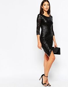 NWT $124 Club L LONDON Premium Asymmetric Wrap Sequin Dress  Fully Lined UK 6-14