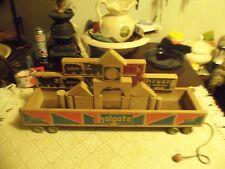 Vintage wood Holgate Railroad Block Car #529 pull toy w/blocks  MADE IN 1955