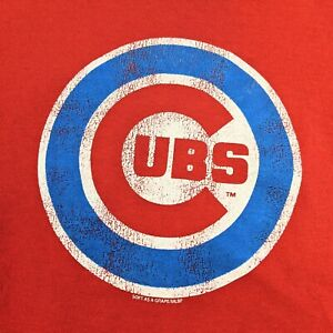 MLB Chicago Cubs Delta Pro Weight Youth Red Graphic T-Shirt Size Medium