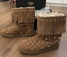 Jimmy Choo UGG Australia Starlit Chestnut Fringe Boots Size UK 9.5 Eur42 BOXED
