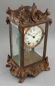 Lg Antique Victorian Seth Thomas Bronzed Cast Metal Regulator Mantle Clock NR