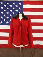 Amanda Smith Jacket Red Removable Faux Fur Collar Size 12 Women's